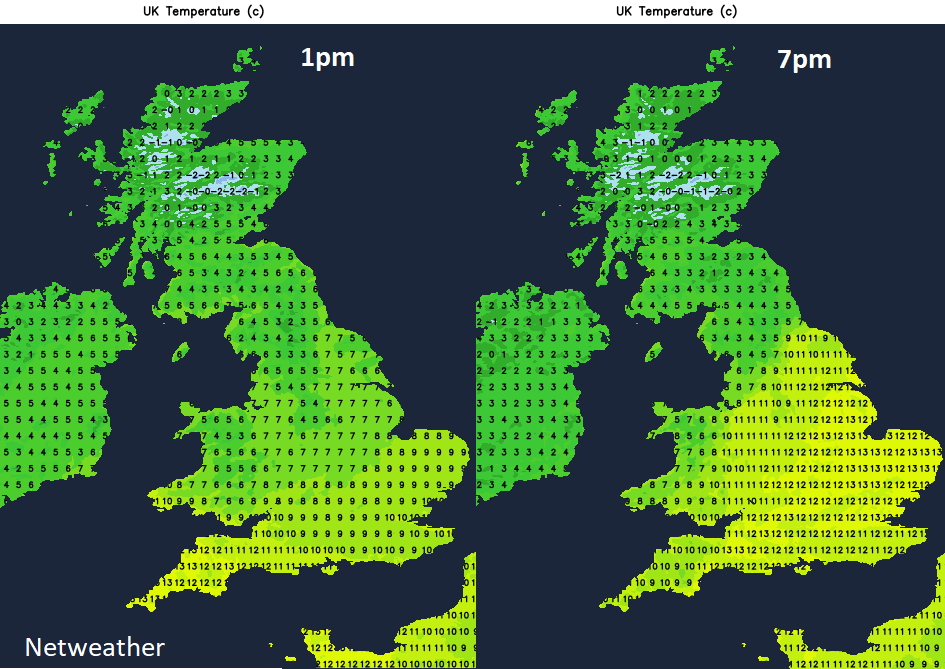 UK temperatures Tuesday 14th