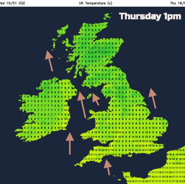 UK Thursday 16th weather