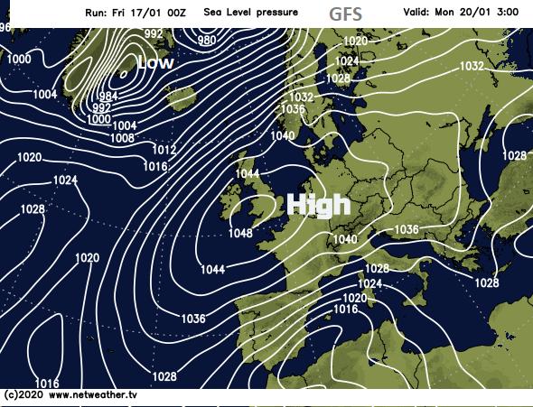 Pressure chart UK Atlantic 1050 mb hPa near