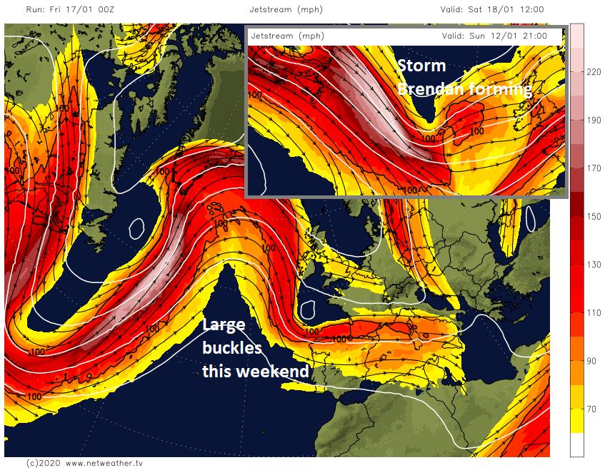 Jet stream UK Atlantic