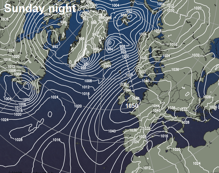 Rare Intense High Pressure System Over Britain, 1050 hPa Possible