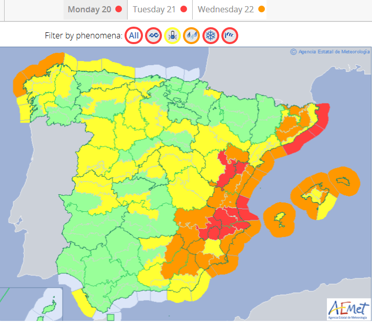 Spanish weather warnings AEMET