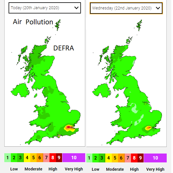 DEFRA air pollution air quality forecast