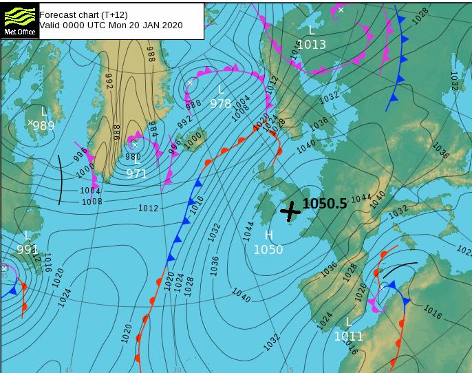 1050.5hPa high pressure Mumbles Head Jan 2020