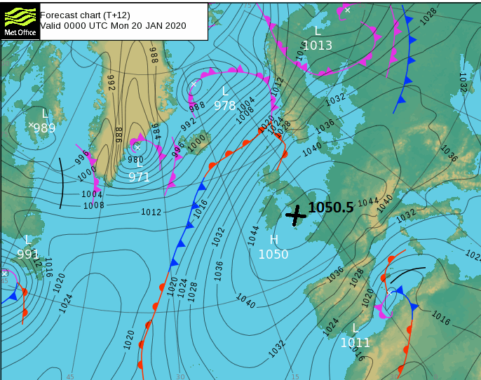 High pressure over 1050 1050.5hPa Mumbles Head