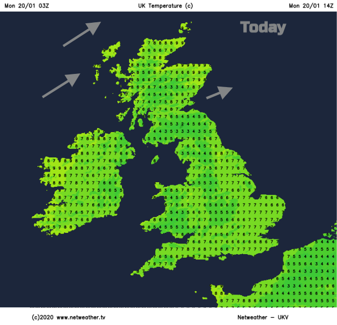 UK temperatrues Monday 20th