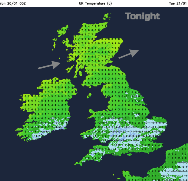 UK temperatures tonight Monday 20th January