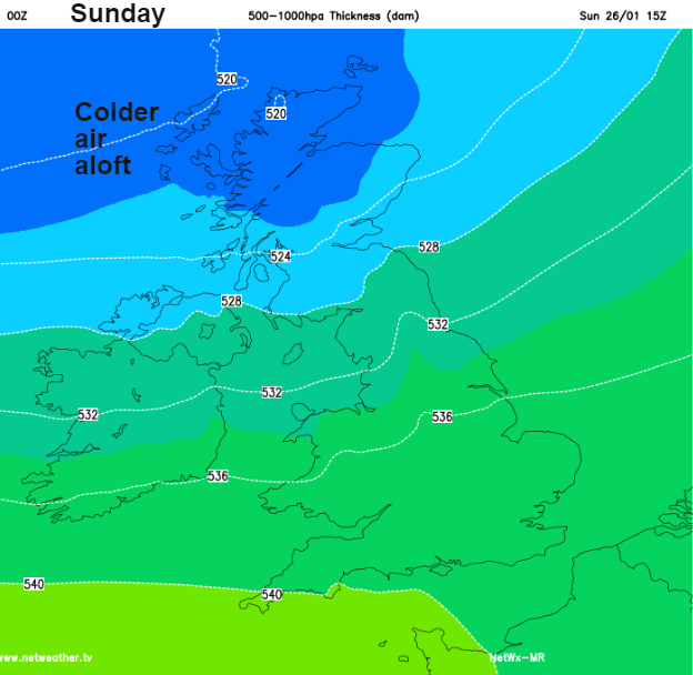 Colder by Sunday in north, risk of hill snow UK
