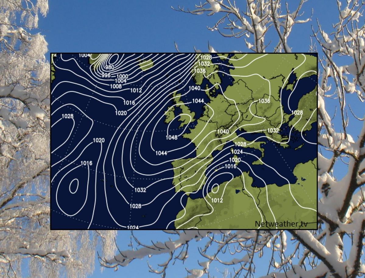 Atlantic winter divide: Intense UK High Pressure vs Newfoundland Snow