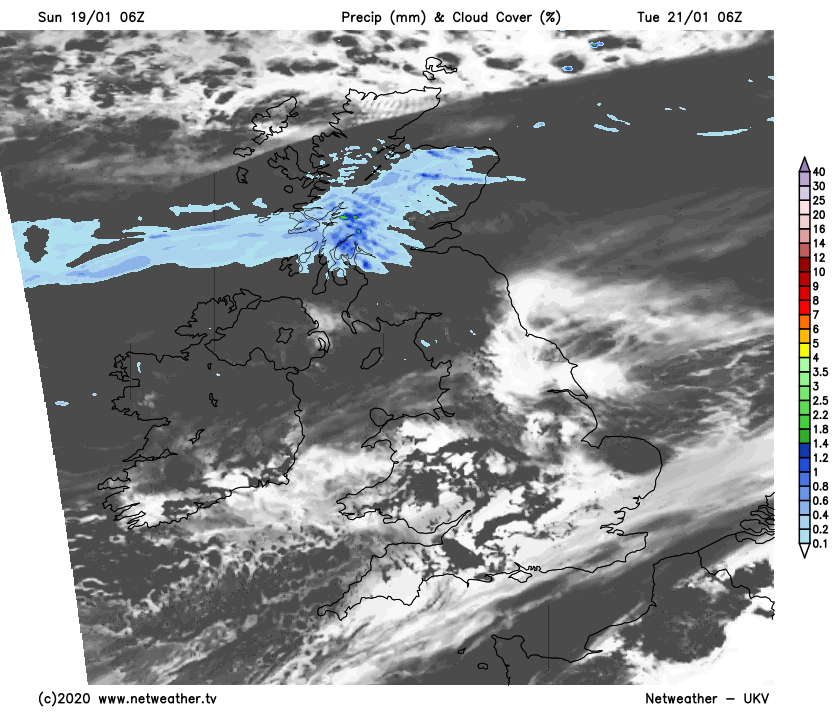 Patchy rain pushing down from the north, widespread frost and fog further south