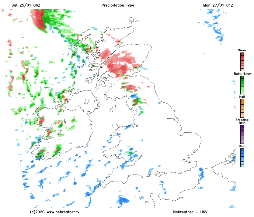 Snow and wintry showers for Scotland on Sunday night