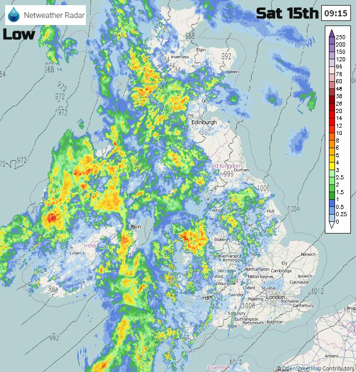 Storm Dennis Rain on Netweather Radar