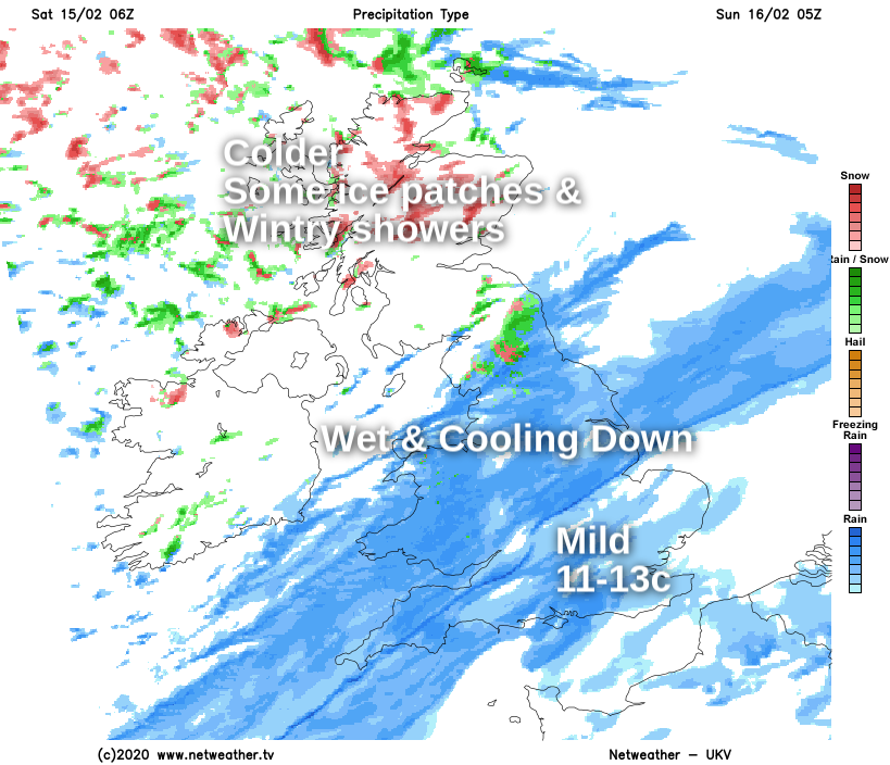 Very mild in the southeast overnight, colder with ice patches and wintry showers in Scotland, wet in between