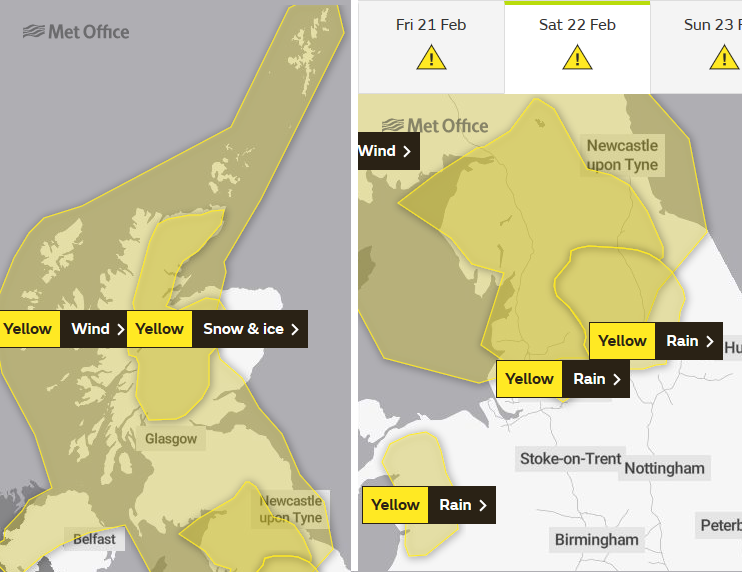 Met Office warnings for Snow and Rain wind Saturday
