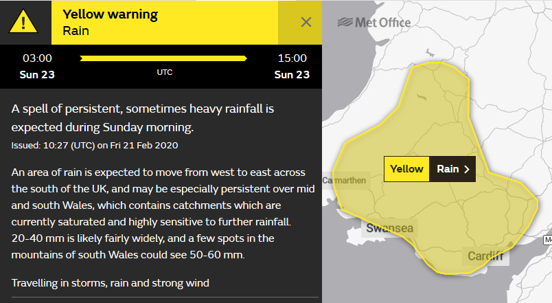 Met Office warning for rain on Sunday south Wales