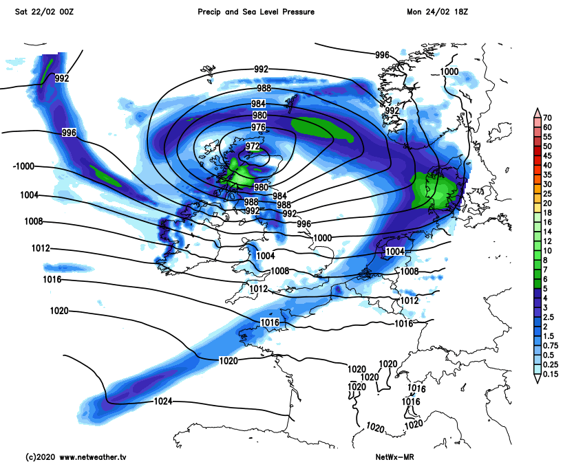 Low pressure over Northern Scotland on Monday
