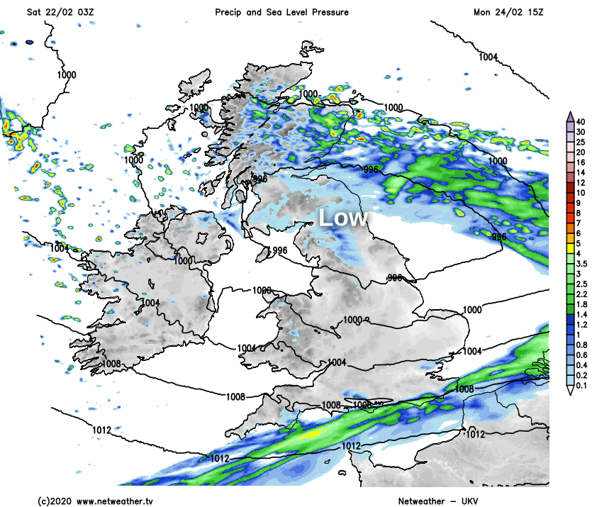 Low pressure over Southern Scotland and Northern England on Monday
