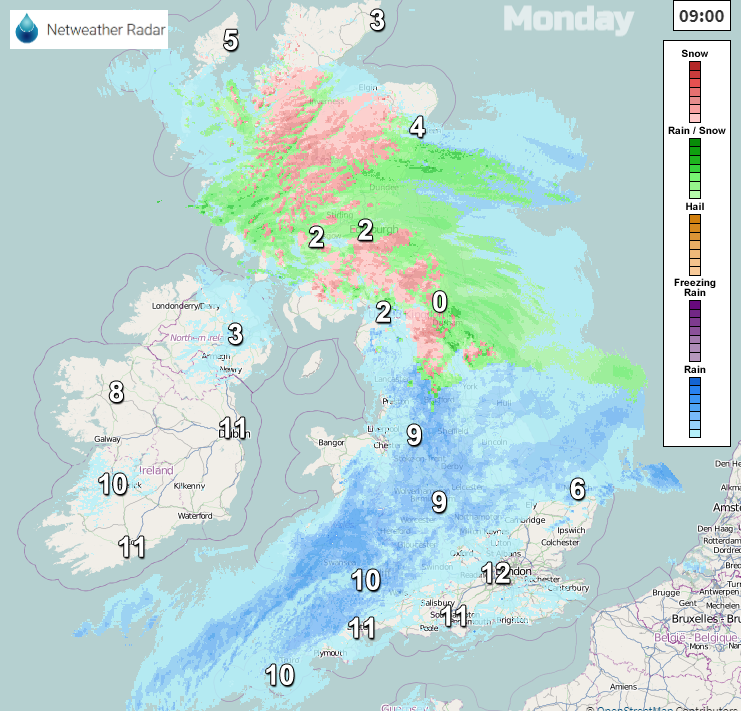 UK snow and rain on radar Temps cold in north , mild south