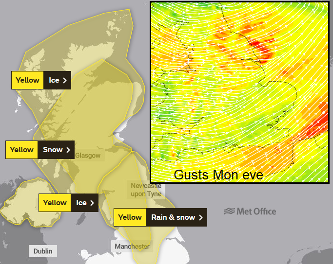 Snow and Ice warnings, gusty winds and flood risk