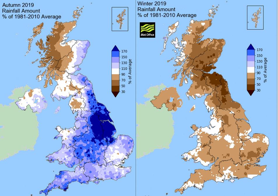 Winter and autumn rainfall UK