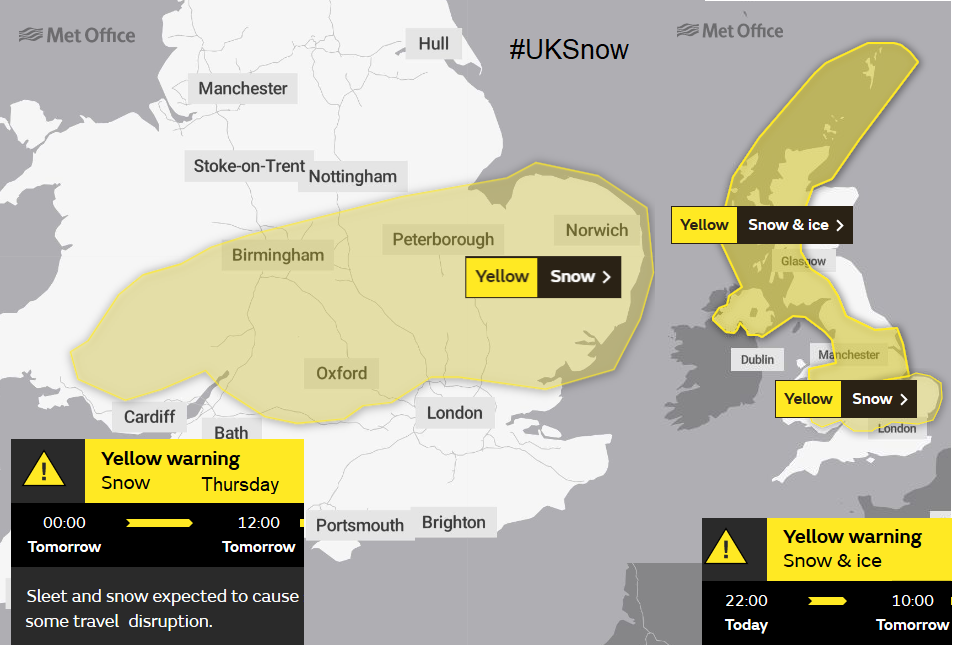 SNow warning UK weather