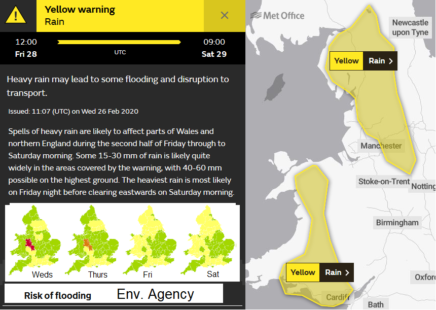 Heavy rain warning England and Wales FLooding
