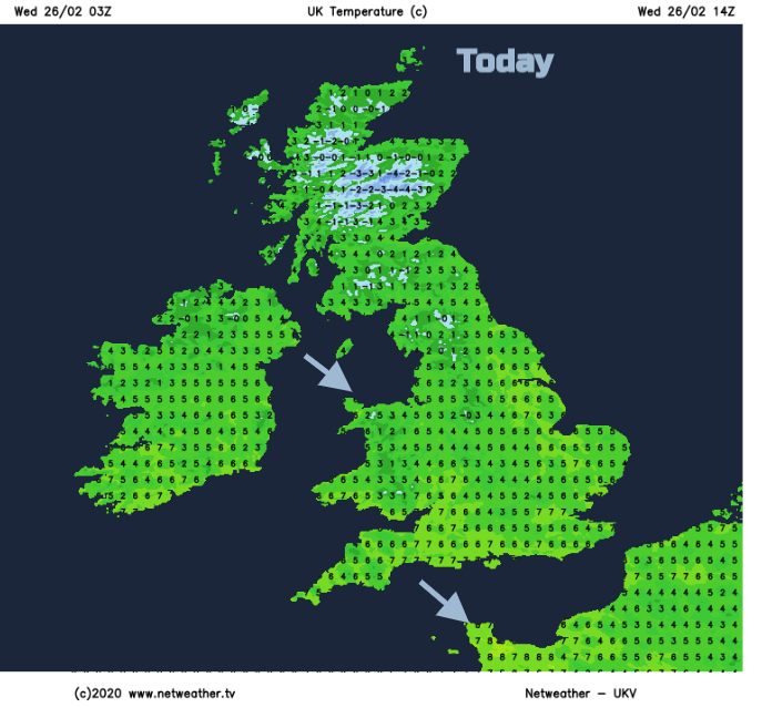 UK temperatures Wednesday