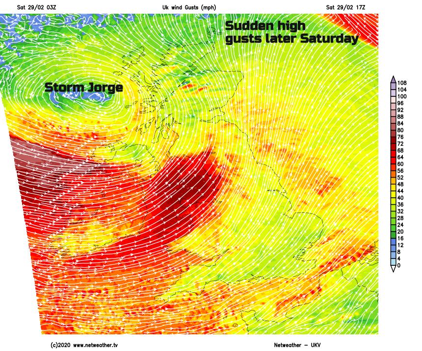 Storm Jorge gusts, high sudden winds UK Ireland