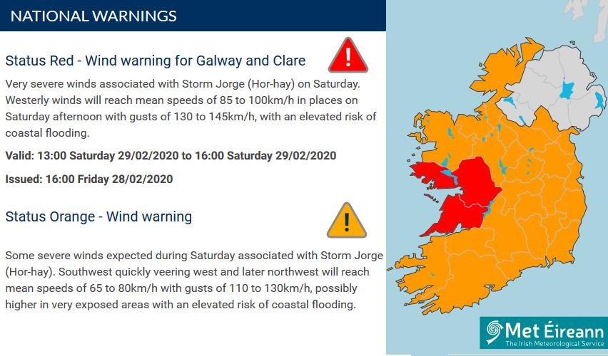 Storm Jorge red warning Ireland