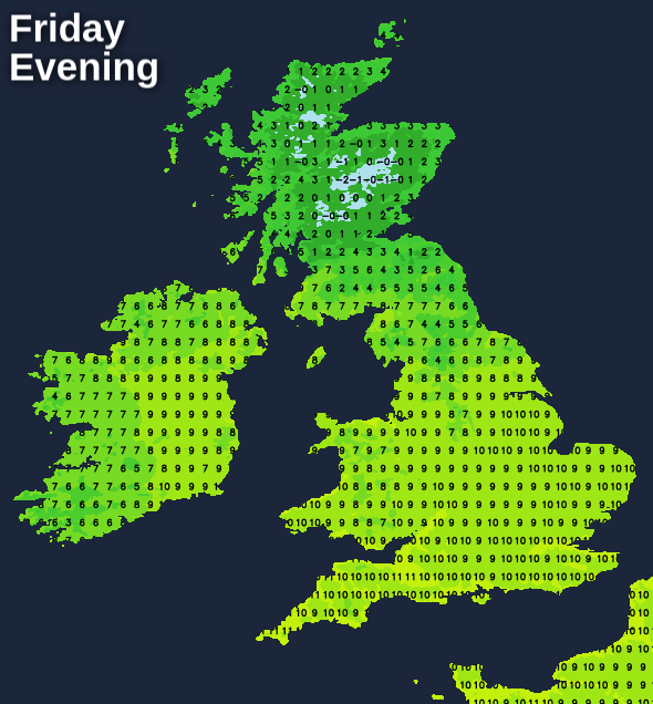 Very mild across England, Wales and Ireland on Friday evening