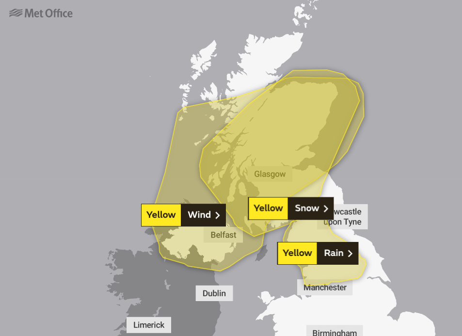 Met Office warnings for Monday