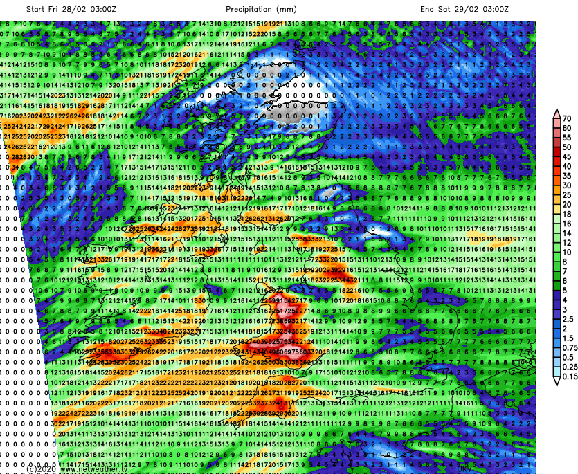 High rainfall totals in Wales and Northwest England Friday into Saturday