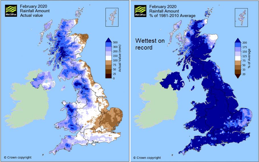 United Kingdom witnesses wettest February on record