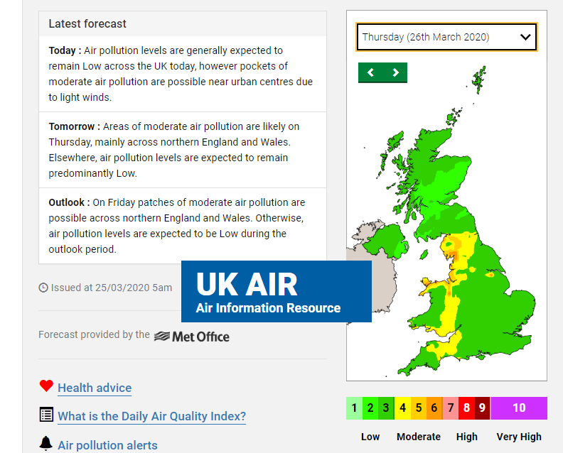 air pollution DEFRA air quality forecast UK