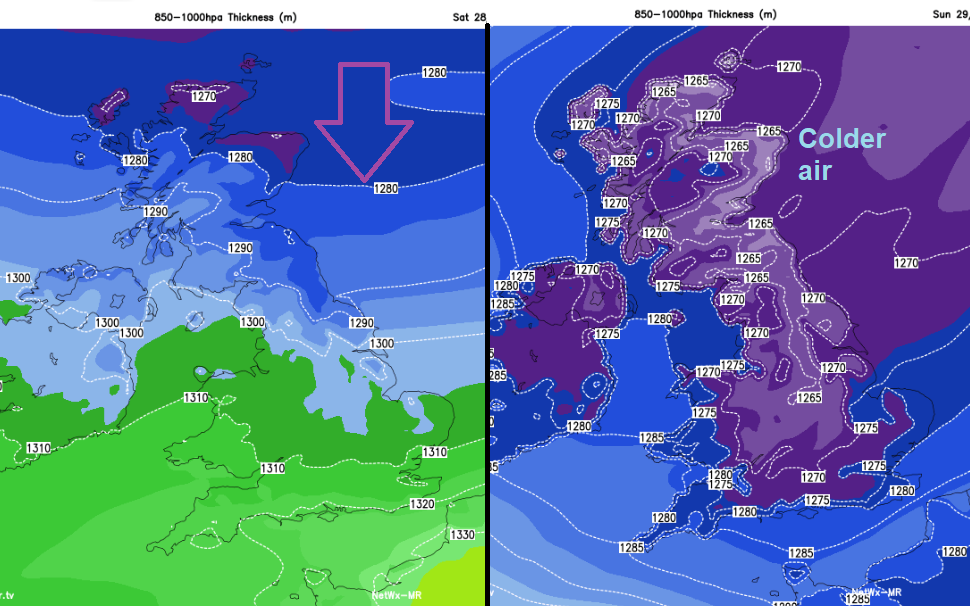 Colder air from the north this weekend UK Thickness