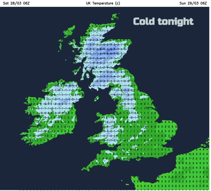 Frost tonight UK