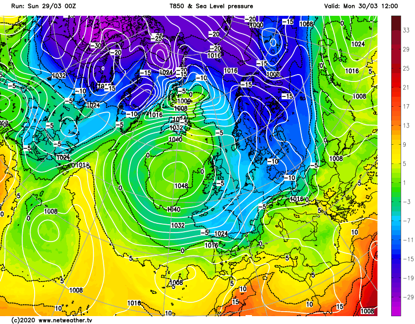 High pressure slightly further south and west on Monday