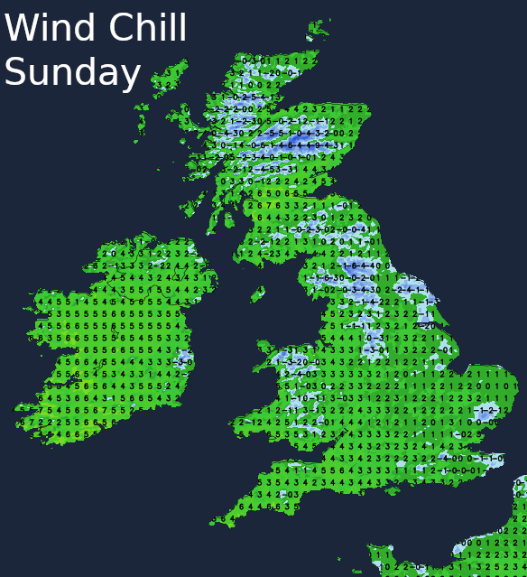 Wind chill on Sunday making it feel close to freezing in many parts of the UK
