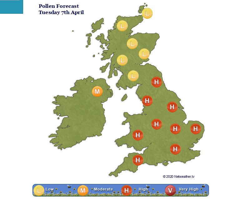 UK pollen risk forecast