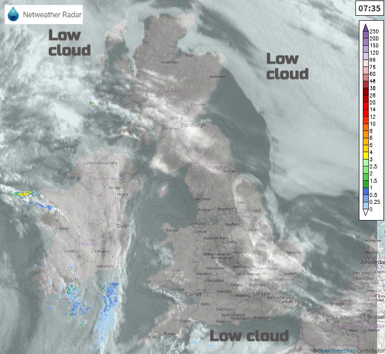 Low cloud over UK