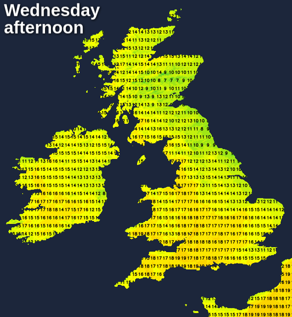 Warmer on Wednesday except near to eastern coasts