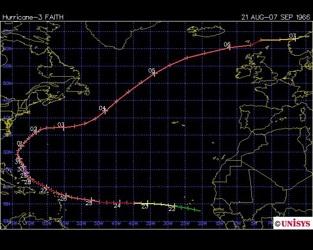 Hurricane Faith 1966 UK and Faeroe ISlands
