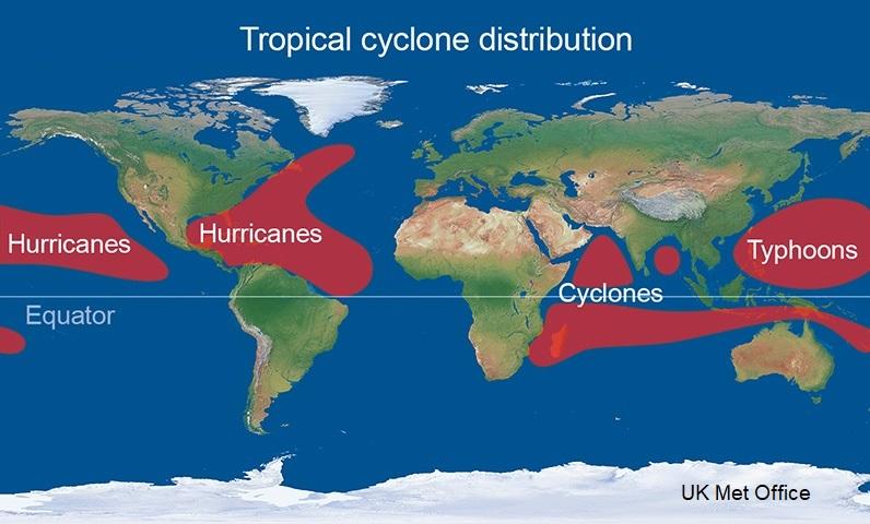 Hurricane basin distribution world wide