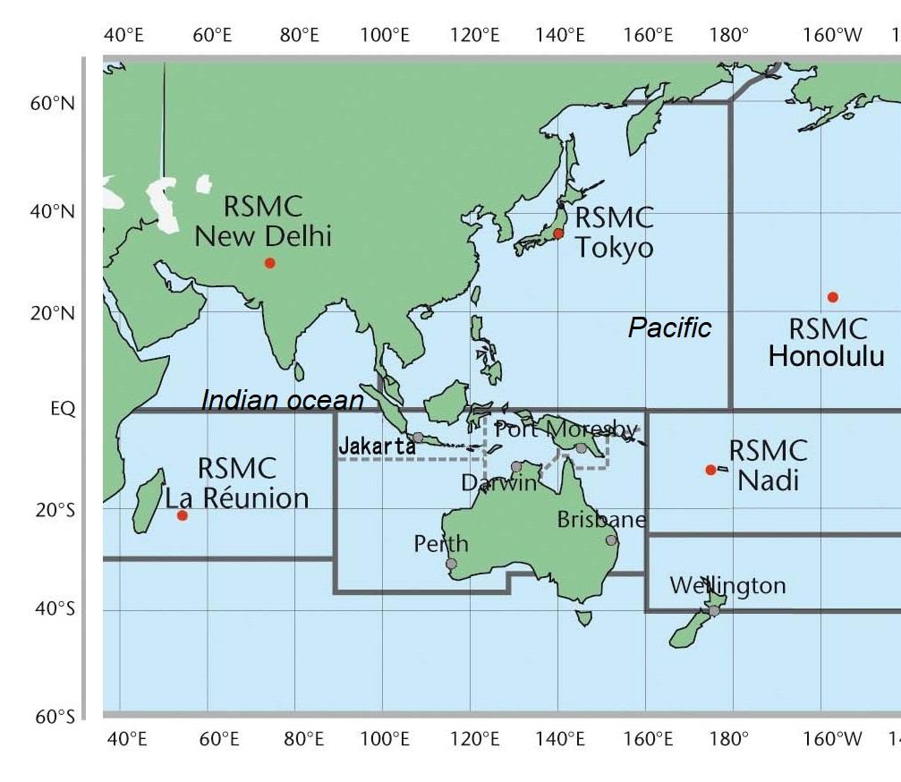RSMCs delhi, tokyo, la reunion,