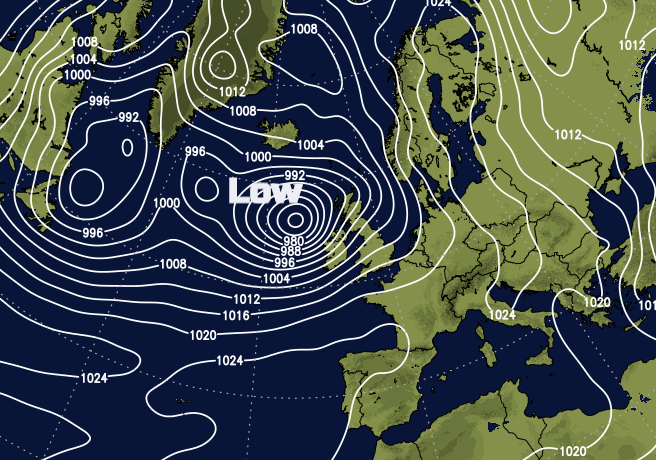 Deep low pressure near to the UK