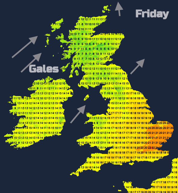 UK temperatures Friday