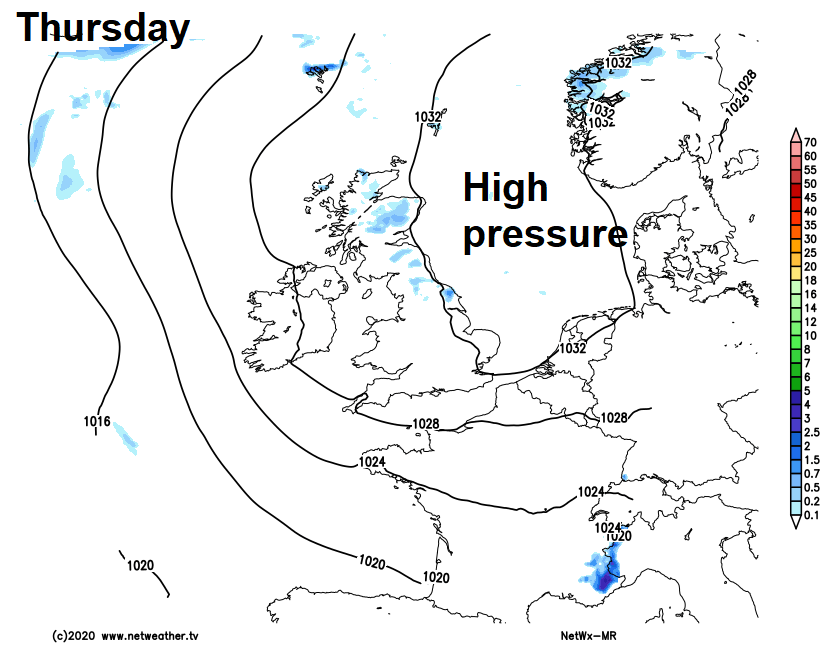High pressure to the east of the UK on Thursday