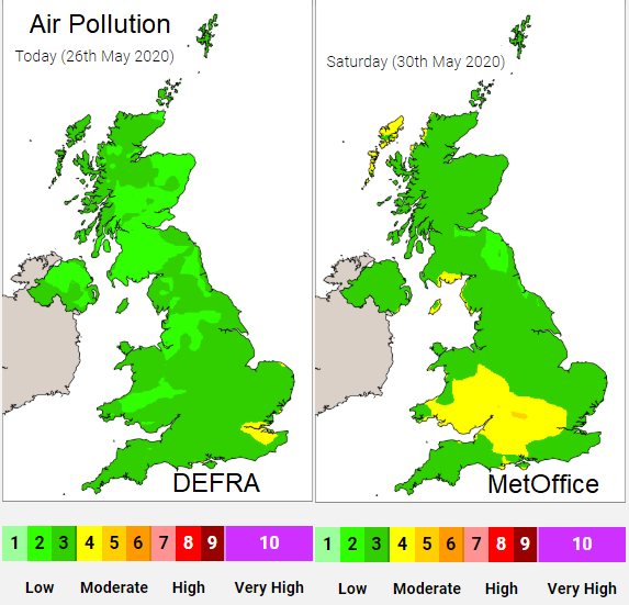 UK air pollution air quality May 2020