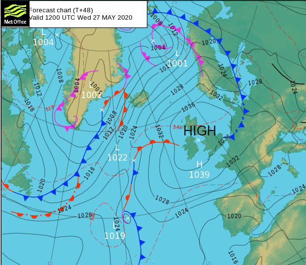 UK weather air pressure over Atlantic and Europe