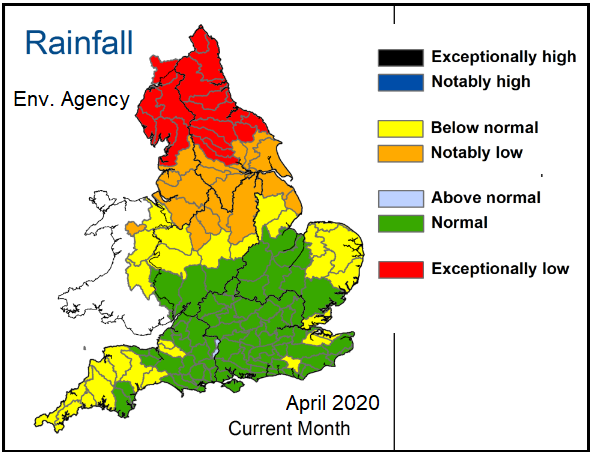 Water levels England groundwater rainfall and soil